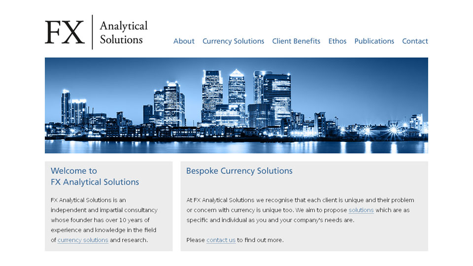 Web design for currency consultancy, including user interface design, logo design, SEO