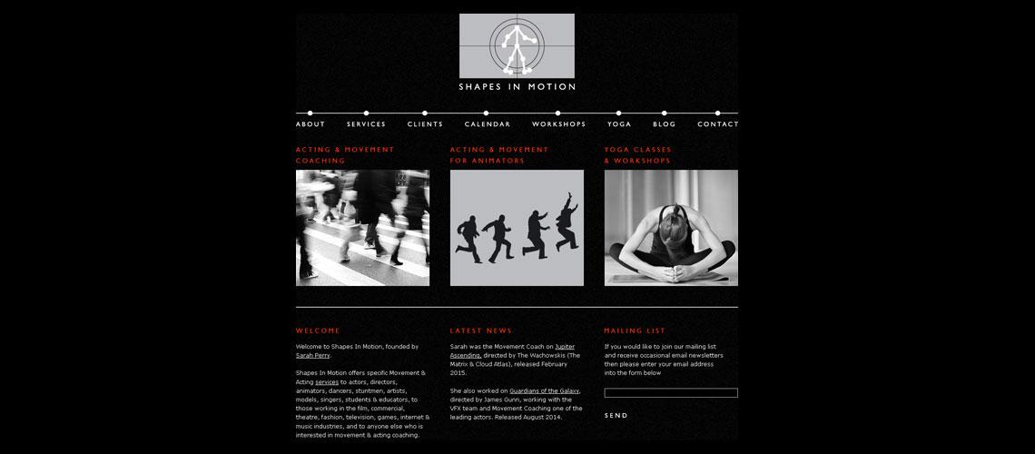 website design for Shapes In Motion