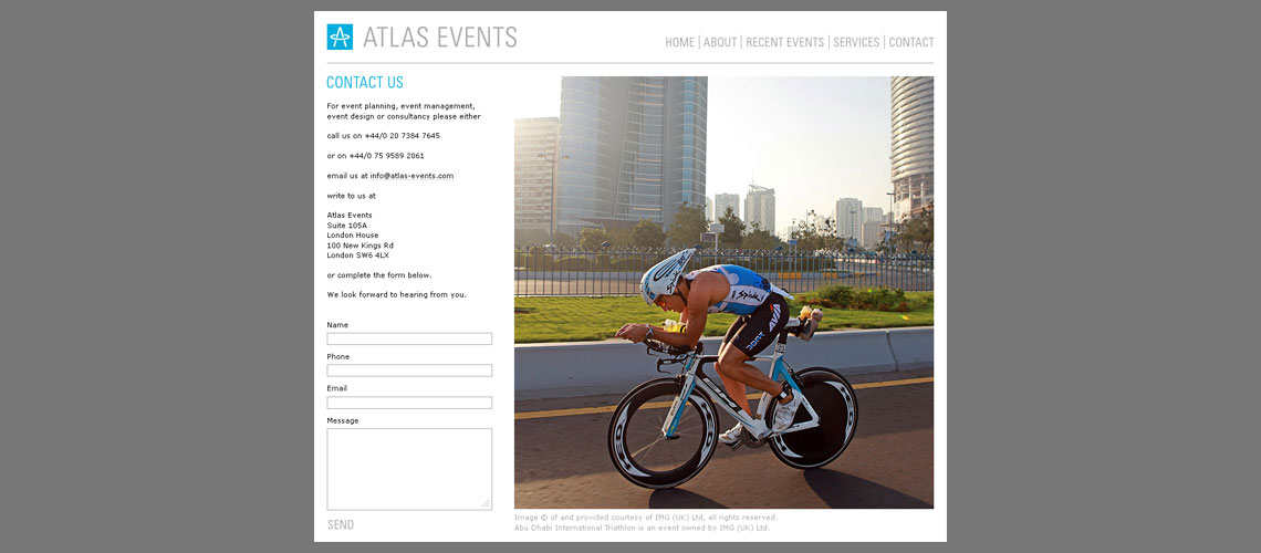 web design for events management company