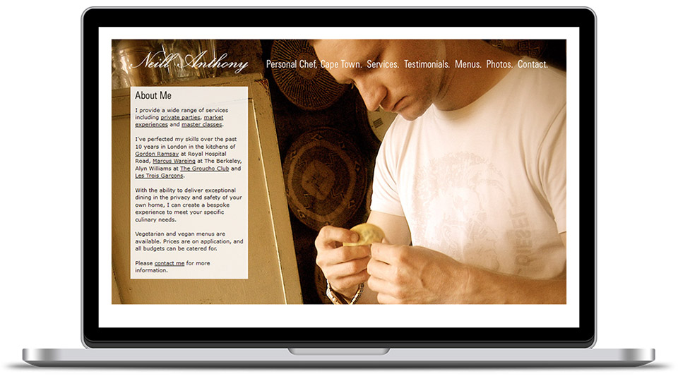 Web design for chef