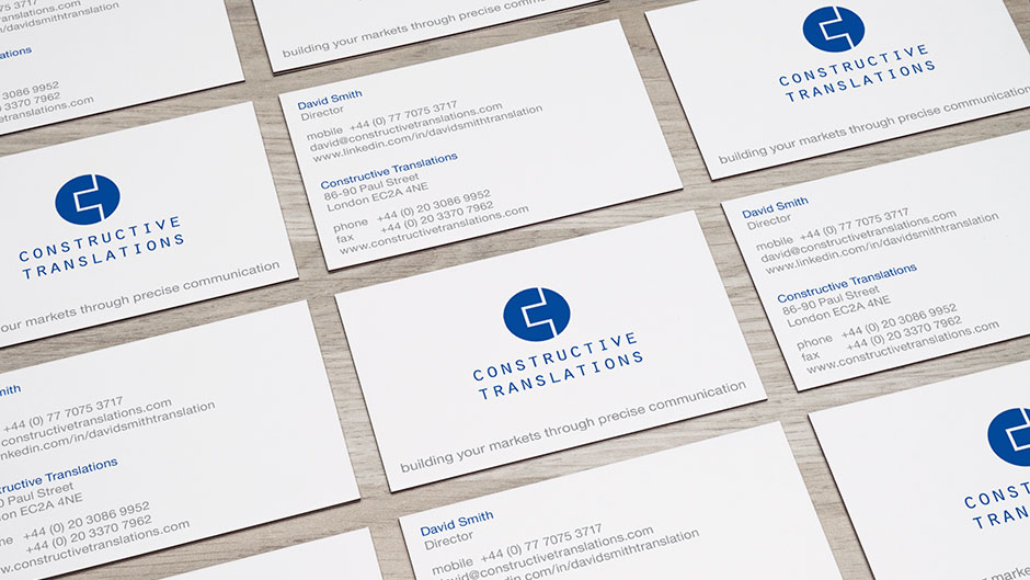 Brand identity design and business card design for engineering translation company
