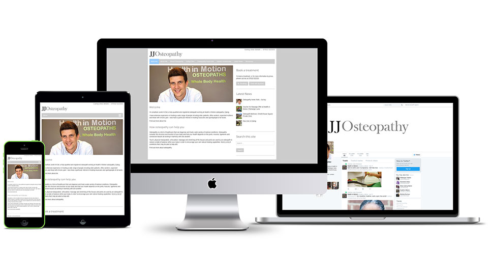 Brand identity design, responsive website design and social media profile design for osteopath