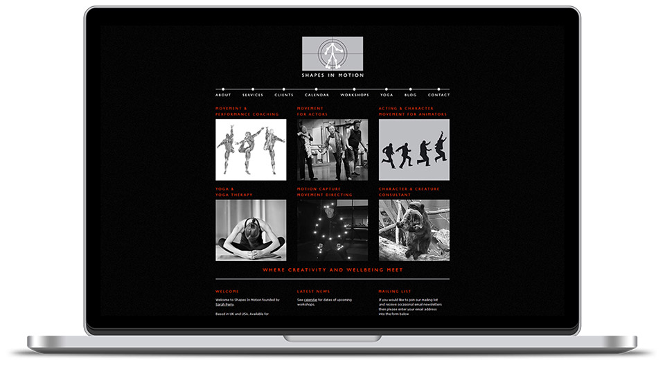 website design for acting & movement coach